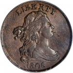 1806 Draped Bust Half Cent. C-2. Rarity-4. Small 6, Stems to Wreath. AU-55 (PCGS). CAC.