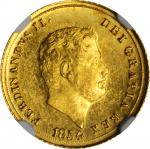 ITALY. Naples & Sicily. 3 Ducati, 1854. Naples Mint. Ferdinand II. NGC MS-64.