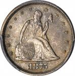 1875-S Twenty-Cent Piece. BF-16, FS-302. Misplaced Date, Repunched Mintmark. MS-65 (PCGS). CAC.