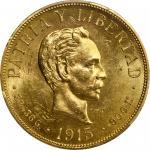 CUBA. 20 Pesos, 1915. Philadelphia Mint. PCGS MS-63 Gold Shield.