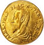 ITALY. Parma & Piacenza. 2 Doppie, 1597. Alessandro Farnese. PCGS AU-53.