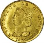 COLOMBIA. 1832-RS 8 Escudos. Bogotá mint. Restrepo M165.23. MS-62 (PCGS).