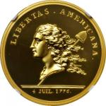1781 (2014) Libertas Americana Medal. Paris Mint Restrike. Gold. 34 mm. 1 ounce. Proof-69 Ultra Came
