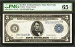 Fr. 851b. 1914 $5 Federal Reserve Note. New York. PMG Gem Uncirculated 65 EPQ.