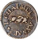 1783 John Chalmers Threepence. W-1760. Rarity-5. AU-53+ (PCGS).