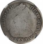 COLOMBIA. 2 Reales, 1777-NR JJ. Nuevo Reino Mint. Charles III. NGC AG-3.