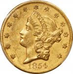 1854 Liberty Head Double Eagle. Large Date. AU-53 (PCGS). CAC.