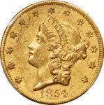 1854 Liberty Head Double Eagle. Large Date. AU-53 (PCGS). CAC.