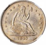 1840-O Liberty Seated Quarter. No Drapery. Briggs 1-A. Repunched Date, Mintmark Left. MS-61 (NGC).