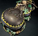 银质鎏金累丝珐琅彩葫芦形捧盒