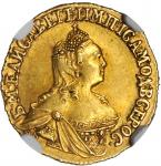 RUSSIA. 2 Ruble, 1756. Elizabeth (1741-61). NGC AU-55.