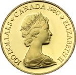 World Coins, Canada.  Elizabeth II (1952 -). 100 dollars 1980. Fr. 11 16.91 g.  27 mm.  优美