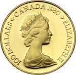World Coins, Canada.  Elizabeth II (1952 -). 100 dollars 1980. Fr. 11 16.91 g.  27 mm.  优美
