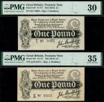 Treasury Series, John Bradbury, first issue 1 (2), ND (7 August 1914), serial number Q/38 05371, R/2