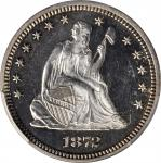 1872 Liberty Seated Quarter. Proof-64 Cameo (PCGS).