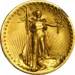 MCMVII (1907) Saint-Gaudens Double Eagle. High Relief. Wire Rim. Proof-64+ (NGC).