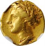 SICILY. Syracuse. Agathokles, 317-289 B.C. AV Diobol (1/6 Stater) (1.39 gms), ca. 304-289 B.C. NGC V