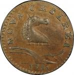 1786 New Jersey copper. Maris 21-P. Rarity-5. Narrow Shield, Curved Plow Beam. AU-58+ (PCGS).