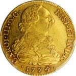 COLOMBIA. 8 Escudos, 1774-P JS. Popayan Mint. Charles III. PCGS AU-53 Gold Shield.