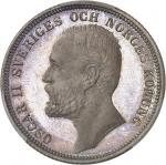 SUÈDE Oscar II (1872-1907). 2 kronor, Flan bruni (PROOF) 1890 EB, Stockholm.