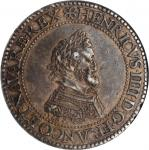 FRANCE. Silver Quadruple Piefort Franc, 1607-A. Paris Mint. Henry IV. NGC EF-45.