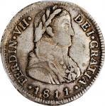 CHILE. 2 Reales, 1811-So FJ. Santiago Mint. Ferdinand VII. PCGS VF-30 Gold Shield.