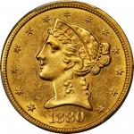 1880-CC Liberty Half Eagle. MS-62 (PCGS).