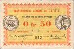 IVORY COAST. Gouvernement General de lAfrique Occidentale Francaise. 0.50 Franc, 1917. P-1b. Uncircu