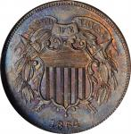 1864 Two-Cent Piece. Large Motto. MS-63 BN (NGC).
