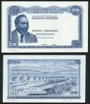 Central Bank of Kenya, an obverse and reverse die proof 20/-, ND (1970), blue and white, President K