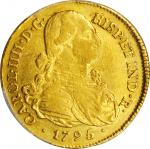 COLOMBIA. 8 Escudos, 1795-P JF. Popayan Mint. Charles IV. PCGS AU-53 Gold Shield.