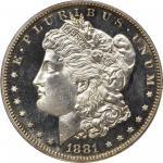 1881 Morgan Silver Dollar. Proof-61 (PCGS).