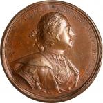 RUSSIA. Public Order Restoration Bronze Medal, 1718 (ca. 1825). Peter I (The Great). NGC MS-61 Brown
