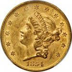 1854 Liberty Head Double Eagle. Small Date. Breen-7167. Repunched Date. AU-55 (PCGS). CAC.