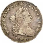 1806 Draped Bust Half Dollar. O-111a, T-11. Rarity-4. 6/Inverted 6. VF-35 (NGC).
