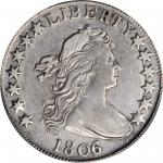 1806/5 Draped Bust Half Dollar. O-101, T-6. Rarity-3. EF Details--Cleaned (PCGS).
