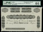 Government of India, a progressive proof for a 1000 rupees, ND (1910-), black and white, value at ce