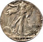1942 Walking Liberty Half Dollar--Struck on a Quarter Planchet--MS-62 (PCGS).