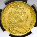 GREAT BRITAIN William&Mary ウィリアム&メアリー(1688~94) 5Guineas 1694 NGC-MS61 AU