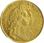GREAT BRITAIN. 5 Guineas, 1691. London Mint. William & Mary. NGC EF-45.