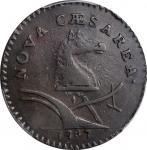 1787 New Jersey Copper. Maris 62-q, W-5350. Rarity-3. Large Planchet, Sprig Above Plow, Hidden Initi
