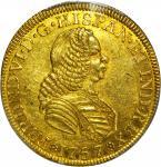 COLOMBIA. 1757-JS 4 Escudos. Santa Fe de Nuevo Reino (Bogotá) mint. Ferdinand VI (1746-1759). Restre