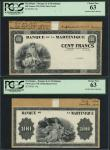 Martinique, Banque de la Martinique, 100 francs, uniface obverse and reverse die proofs in black and