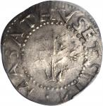 1652 Oak Tree Shilling. Noe-13.3. Salmon 10-G. W-520. Rarity-6. IN at Bottom. EF Details--Scratch (P