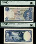 Reserve Bank of New Zealand, obverse and reverse composite essay on card for $5, ND (1956), serial n