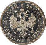 RUSSIA. Poltina, 1859-CNB OB. St. Petersburg Mint. Alexander II. PCGS MS-62 Prooflike Gold Shield.
