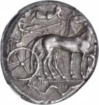SICILY. Syracuse. Second Democracy, 466-406 B.C. AR Tetradrachm (17.28 gms), ca. 440-420 B.C. NGC EF