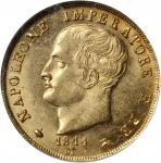 ITALY. Kingdom of Napoleon. 40 Lire, 1814/04-M. NGC MS-62.