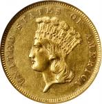 1859 Three-Dollar Gold Piece. AU-58 (NGC).