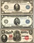 Lot of (3) Fr. 91, 867A & 934. 1907 & 1914 $5 & $10. Legal Tender Note & Federal Reserve Notes. Very